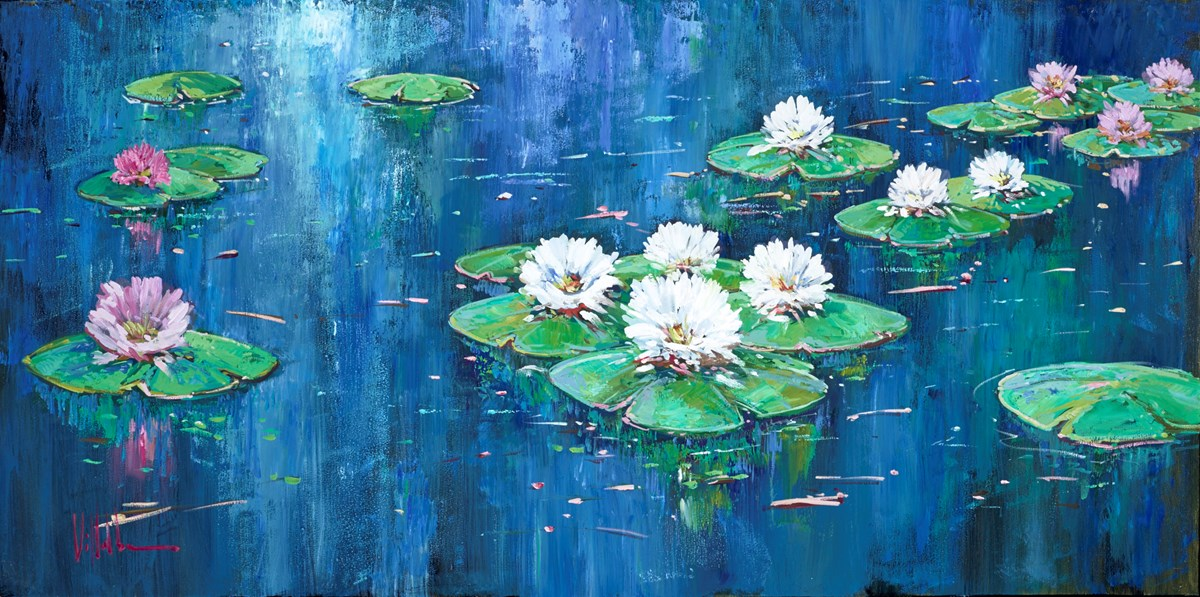 White Lilies II by villalba -  sized 39x20 inches. Available from Whitewall Galleries